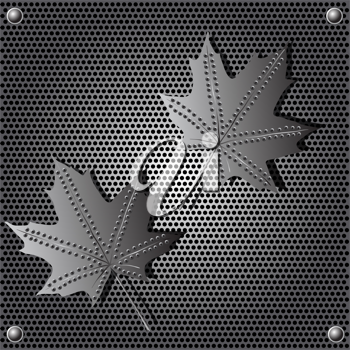 Royalty Free Clipart Image of Metal Maple Leaves