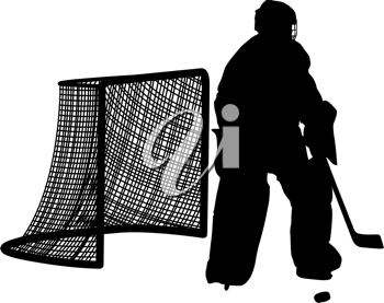 Royalty Free Clipart Image of Silhouettes of Hockey Players