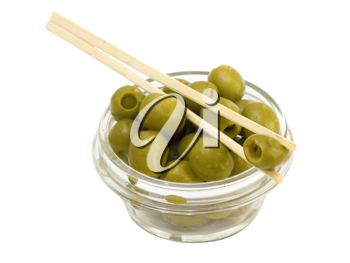 Green olives in a bowl on a white background