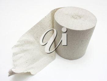 White roll of toilet paper isolated on white material;