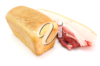 Roll of fresh bread and the big piece of fat with meat on a white background