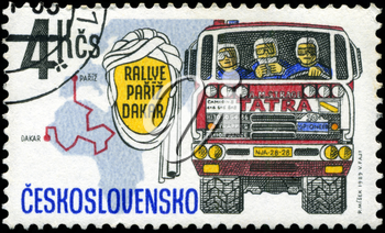 CZECHOSLOVAKIA - CIRCA 1989: A Stamp printed in Czechoslovakia devoted truck competition on Rally Paris - Dakar, circa 1989