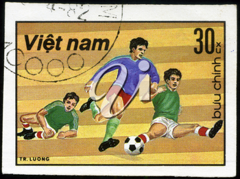 VIET NAM - CIRCA 1982: A post stamp printed in Viet nam shows shows football, series devoted World Cup in Spain, circa 1982.