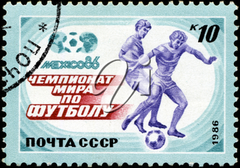USSR - CIRCA 1986: A post stamp printed USSR, football, soccer, World Cup 1986 Mexico Soccer, circa 1986