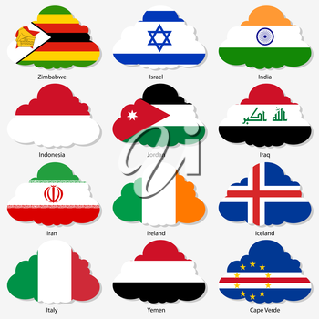 Set  Flags of world sovereign states in  form  clouds. Vector illustration. Set number 6. Exact colors. Easy changes.