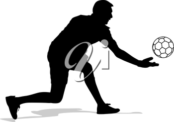 silhouettes of soccer players with the ball. Vector illustration.