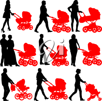 Silhouettes  walkings mothers with baby strollers. Vector illustration.