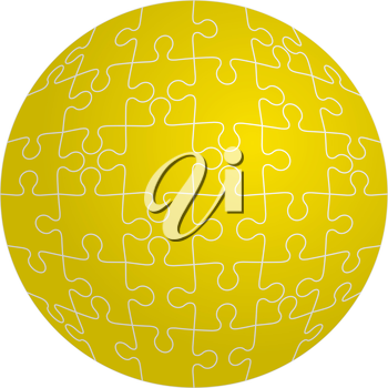 Jigsaw puzzle in the shape of a sphere. Vector illustration.