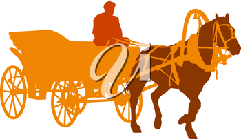 Silhouette  horse and carriage  with coachman. Vector illustration.
