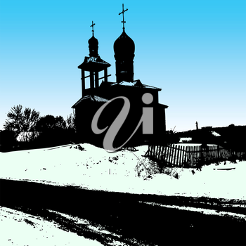 Silhouette of the old church. Vector illustration.