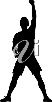 Silhouette of a man with his hand raised. Vector illustration.