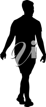 Black silhouettes man on white background. Vector illustration.