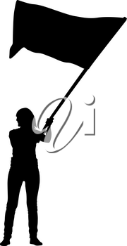 Black silhouettes of woman with flags on white background.