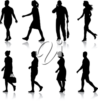Set black silhouettes of beautiful man and woman on white background. Vector illustration.
