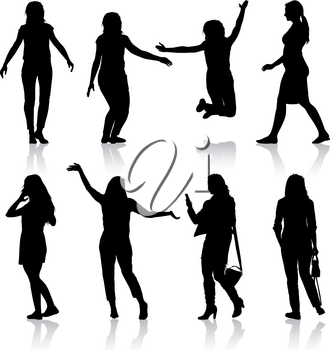 Black silhouettes of beautiful woman on white background. Vector illustration.