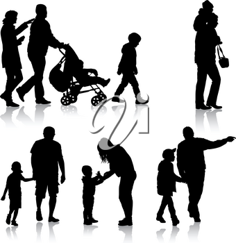 Set black silhouettes Family with pram on white background. Vector illustration.