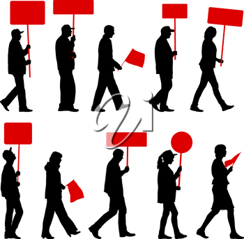 Black silhouettes of woman and man with flag and banner on white background.