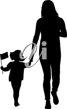 Silhouette of happy family with flag in hand on a white background.