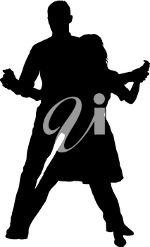 Black silhouettes dancing man and woman on white background.