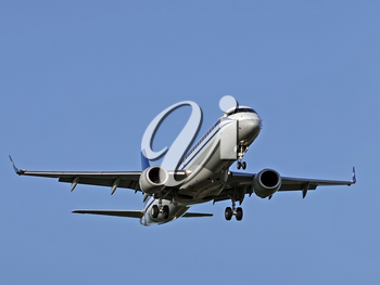 MOSCOW , RUSSIA, June 10, 2019: The Commercial passenger airplane flying overhead on sunny day on June 10, 2019 in Moscow, Russia.