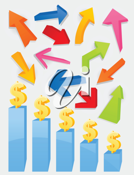 Royalty Free Clipart Image of Arrows and Dollar Signs on Bar Charts