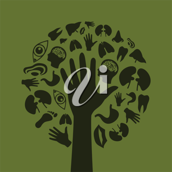 Hand of the person in the form of a tree. A vector illustration