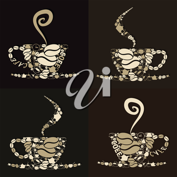 Set of mugs of coffee with a smoke. A vector illustration