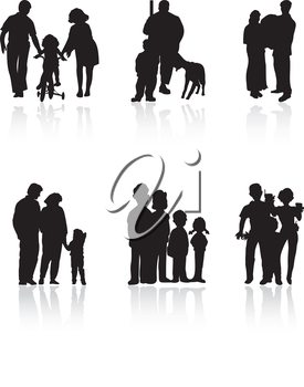 Silhouettes of family of black colour. A vector illustration