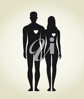 Enamoured man and the woman. A vector illustration