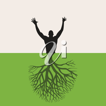 The man grows from the earth. A vector illustration