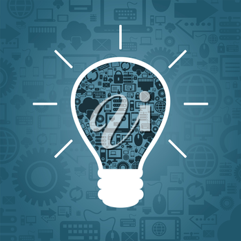 Bulb made of computer subjects. A vector illustration