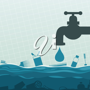 From the crane water flows. A vector illustration