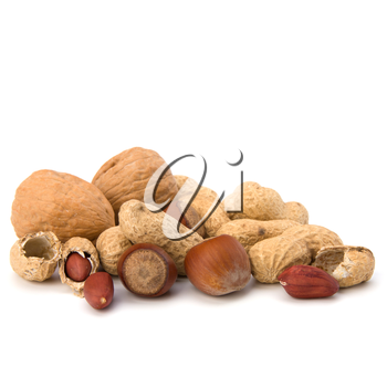 Various nuts mix isolated on white background