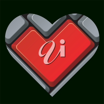 Royalty Free Clipart Image of a Keyboard Heart
