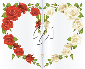Royalty Free Clipart Image of Roses in a Book Forming a Heart