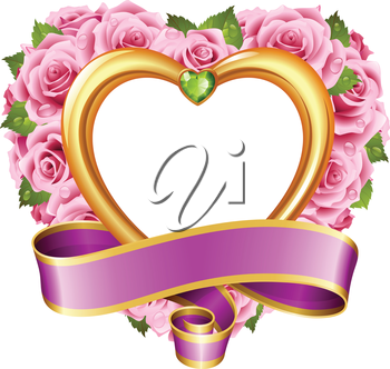 Vector rose frame in the shape of heart. Pink flowers, ribbon, golden border and green diamond