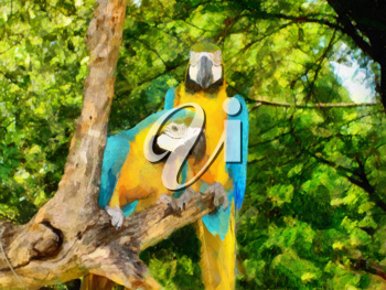 Royalty Free Photo of a Painting of Parrots in a Tree