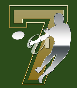 Silver and Golden Sevens Rugby Emblem on Green Background