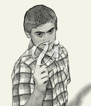 Sketch Teen boy body language expressions - Finger Pointing Warning