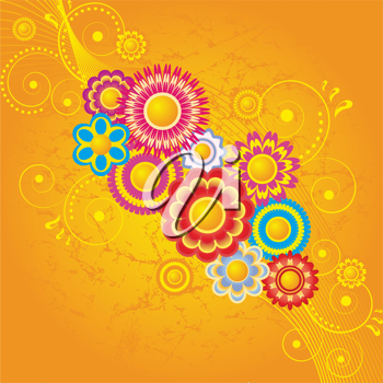 Royalty Free Clipart Image of a Flourish Background With Flowers