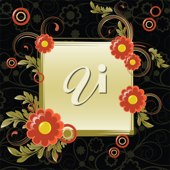 Royalty Free Clipart Image of Flowers and a Frame