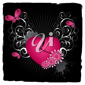 Royalty Free Clipart Image of a Black Background With a Heart, Flourishes and Butterflies