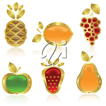 Royalty Free Clipart Image of a Set of Fruit