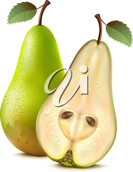 Two pears on a white background. Mesh.