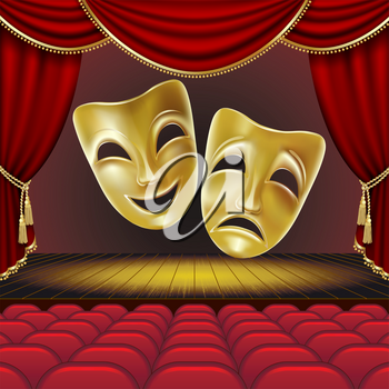 Theater masks on a red background. Golden masks. Theater scene. Mesh. Clipping Mask