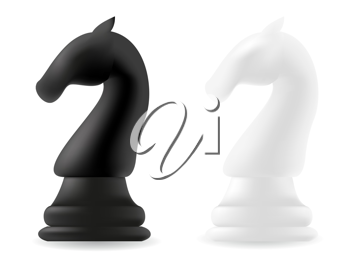 Royalty Free Clipart Image of Chess Knight Pieces