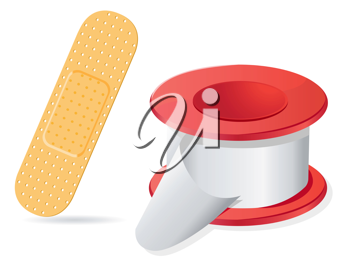 Royalty Free Clipart Image of a Bandage and Gauze