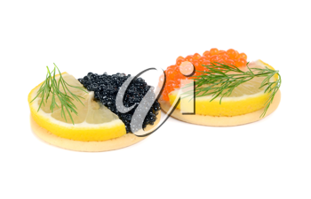 sandwich with black and red caviar isolated on white background