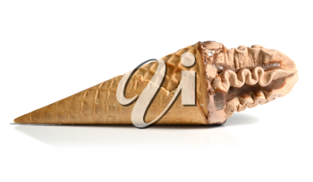 ice cream in waffle cone isolated on white background