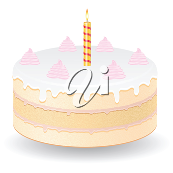 cake with burning candles vector illustration isolated on white background